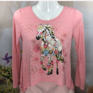 Beautees Pink Bedazzled Horse Shirt